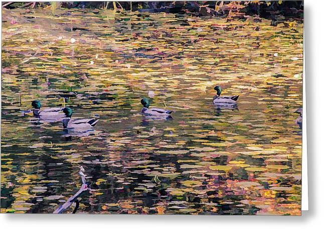 Mallards On Autumn Pond Greeting Card
