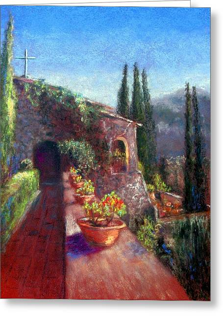 Garden Scene Pastels Greeting Cards - Mallorcan Monastery Greeting Card by Shirley Leswick