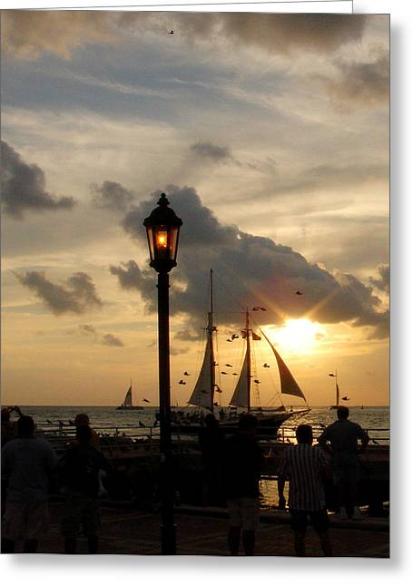 Mallory Square Key West Greeting Card by Susanne Van Hulst