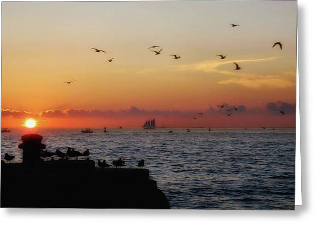 Mallory Square Sunset Greeting Card by JAMART Photography
