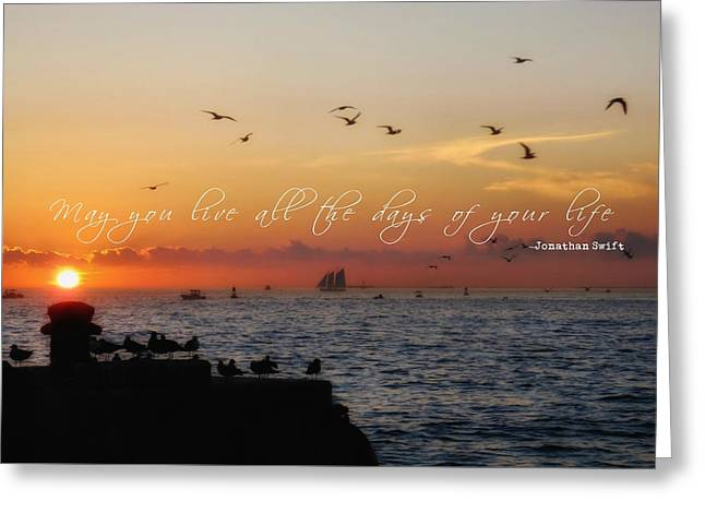 Mallory Square Sunset Quote Greeting Card by JAMART Photography