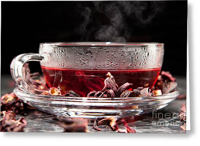 Mallow Tea Greeting Card by Wolfgang Steiner