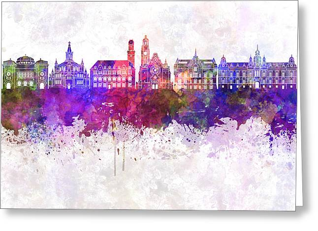 Malmo Skyline In Watercolor Background Greeting Card by Pablo Romero