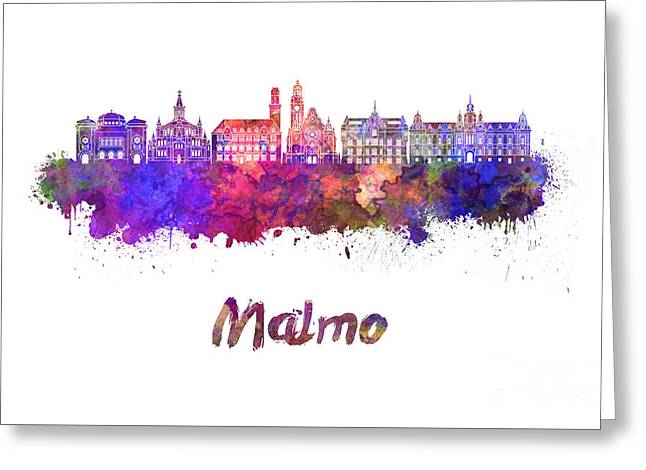 Malmo Skyline In Watercolor Greeting Card by Pablo Romero