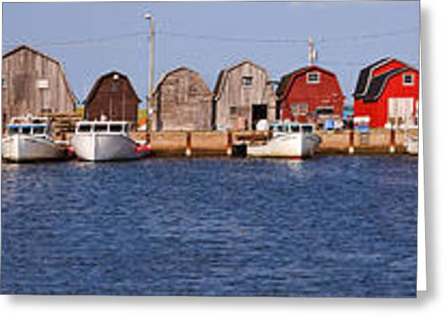 Sheds Greeting Cards - Malpeque Harbour Panorama Greeting Card by Louise Heusinkveld