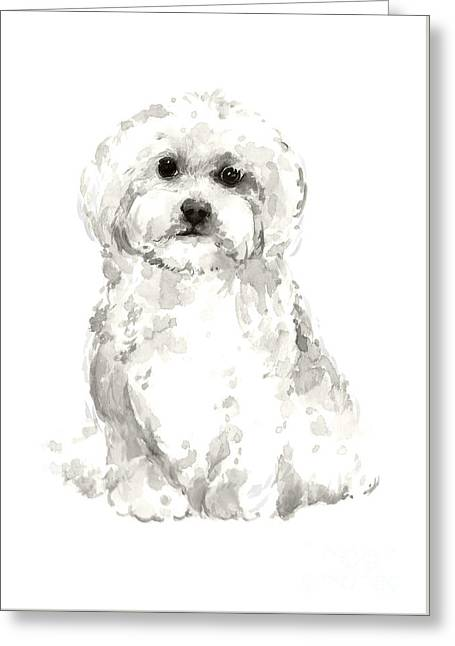 Maltese Abstract Dog Poster Greeting Card by Joanna Szmerdt