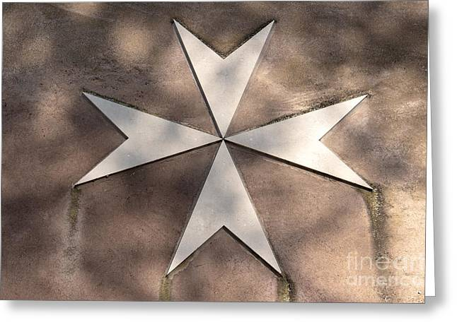 Maltese Cross In Travertine Greeting Card by Fabrizio Ruggeri
