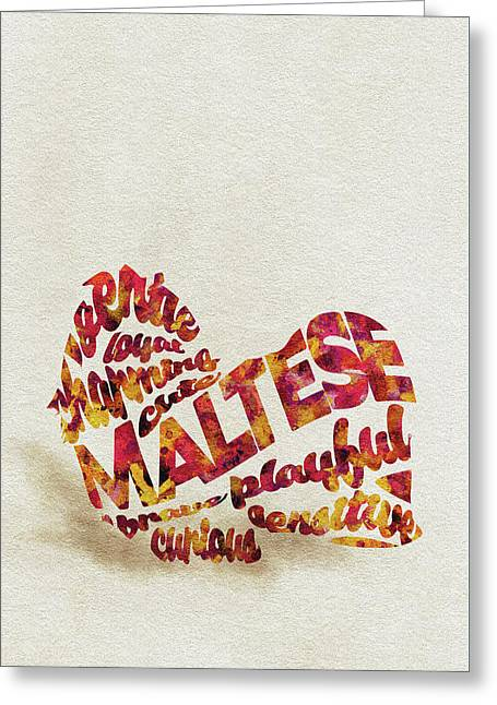Greeting Card featuring the painting Maltese Dog Watercolor Painting / Typographic Art by Ayse and Deniz