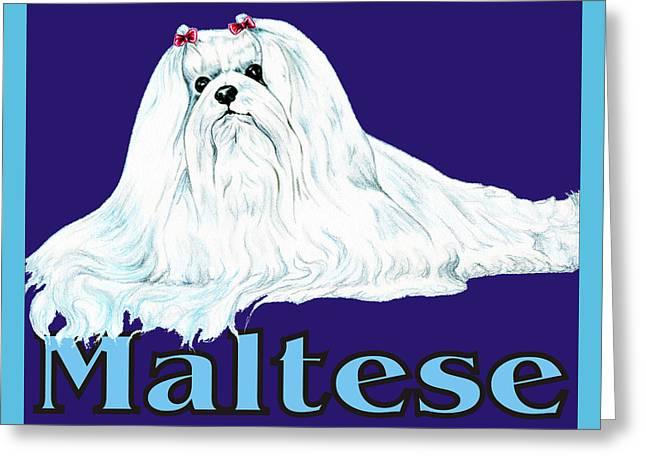 Maltese Pop Art Greeting Card by Kathleen Sepulveda