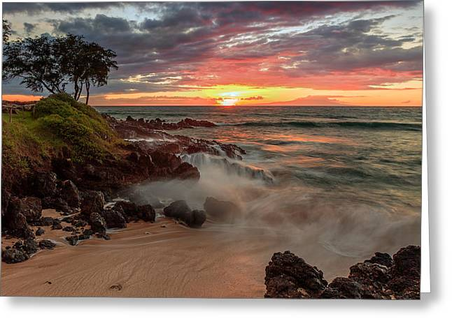 Greeting Card featuring the photograph Maluaka Beach Sunset by Susan Rissi Tregoning