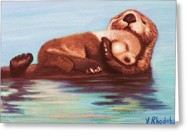 Mama And Baby Otter Greeting Card