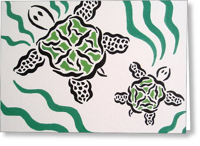Greeting Card featuring the painting Mama And Baby Sea Turtle by Beth Akerman