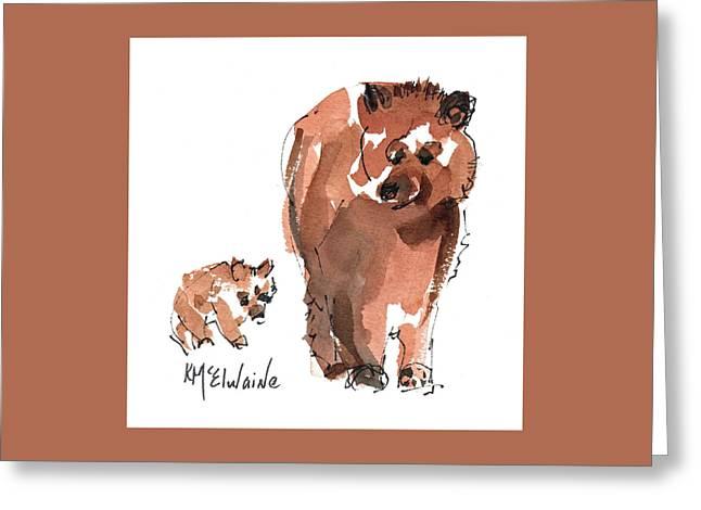 Mama And Baby Series Bear Greeting Card