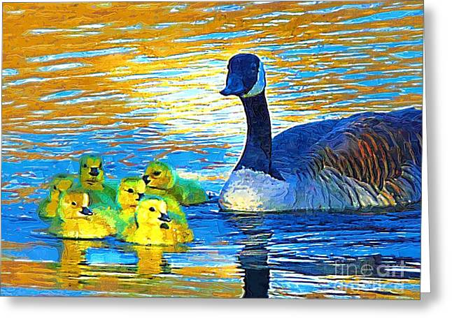 Mama And Her Goslings Greeting Card