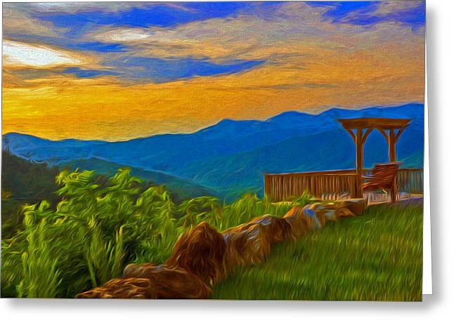 Blue Ridge Sunset From Mama Gertie's Hideaway Greeting Card