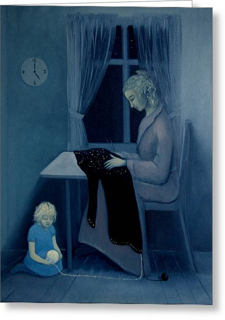 Mama Knitting Big Sister Home Greeting Card by Tone Aanderaa