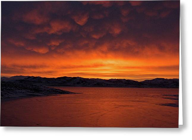Mamantus Clouds Over Wildhorse Reservoir, Nv Greeting Card