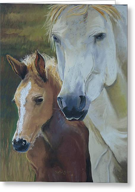 Wild Horse Pastels Greeting Cards - Mamas Boy Greeting Card by Heather Coen