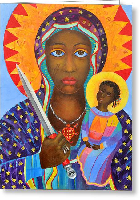 Mambo Mama Ezili Danto, Voodoo Goddess, Haiti New Orlean Black Madonna With Heart And Knife Greeting Card by Magdalena Walulik