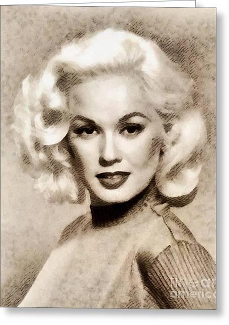 Mamie Van Doren, Vintage Actress And Pinup Greeting Card by John Springfield