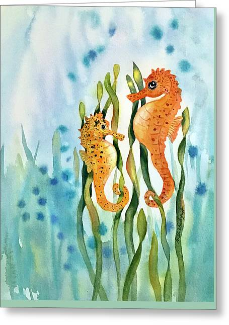 Mamma And Baby Seahorses Greeting Card