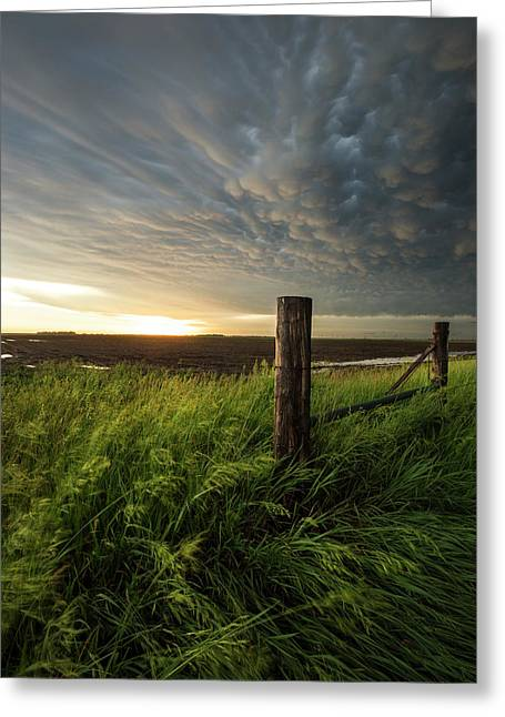 Greeting Card featuring the photograph Mammatus Sunset by Aaron J Groen