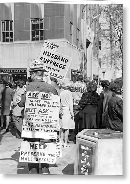 Man Advocating Husband Suffrage, C.1970s Greeting Card by H. Armstrong Roberts/ClassicStock
