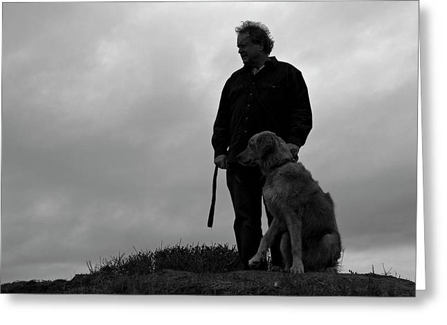 Cambria Greeting Cards - Man and His Dog in Silhouette Greeting Card by Lorraine Devon Wilke