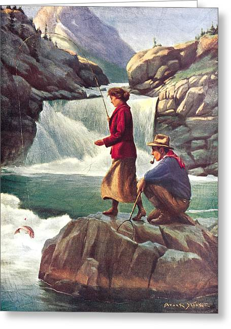 Boundary Waters Paintings Greeting Cards - Man and Woman Fishing Greeting Card by JQ Licensing