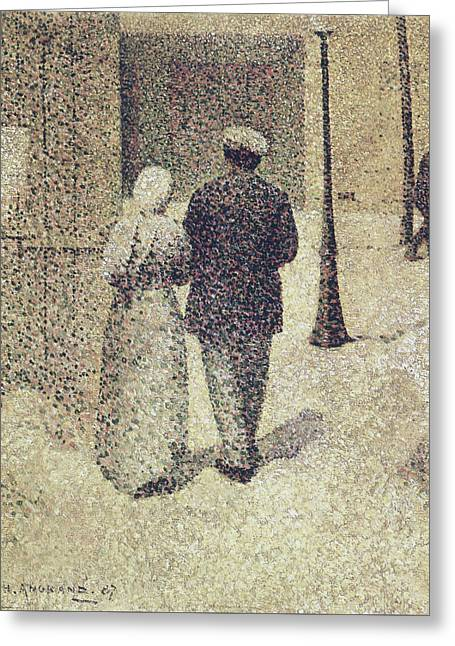 Man And Woman In The Street Greeting Card by Charles Angrand