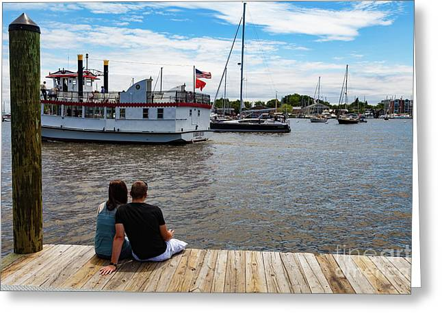 Man And Woman Sitting On The Dock Greeting Card