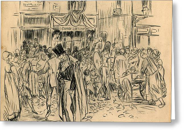 Man At Lottery Office Greeting Card by William Glackens