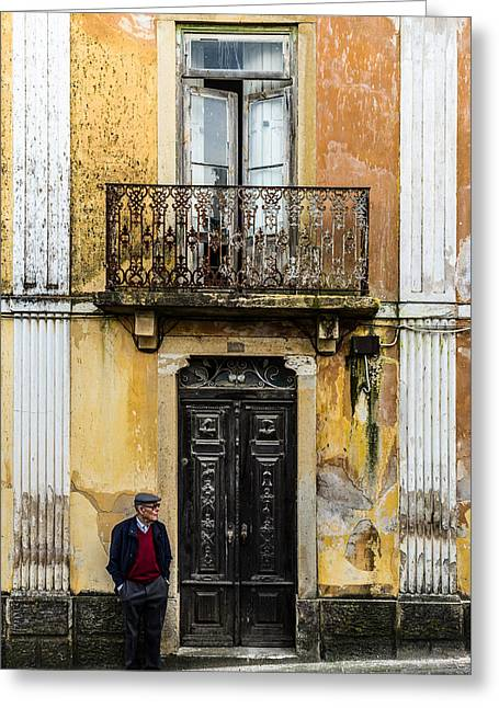 Man At The Door Greeting Card by Marco Oliveira
