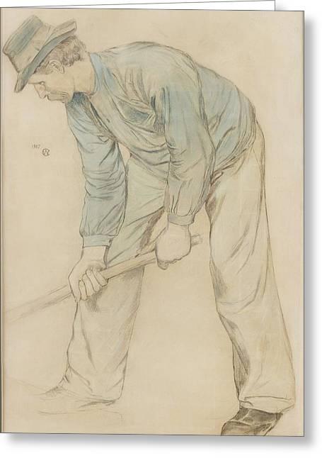 Man At Work Greeting Card by Carl Wilhelmson