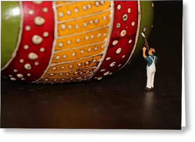 Man At Work Greeting Card by Heike Hultsch