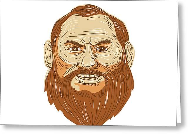 Man Bearded Face Retro Greeting Card