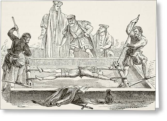 Man Being Tortured On The Rack. From Greeting Card