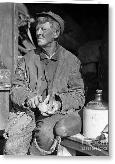 Man Carving Duck Decoy, C.1920-30s Greeting Card by H. Armstrong Roberts/ClassicStock