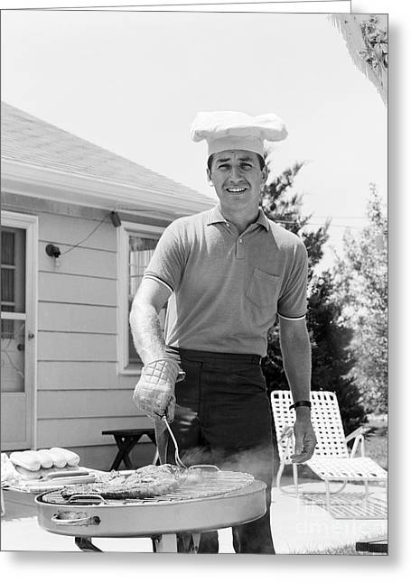 Man Cooking Out, C.1960s Greeting Card