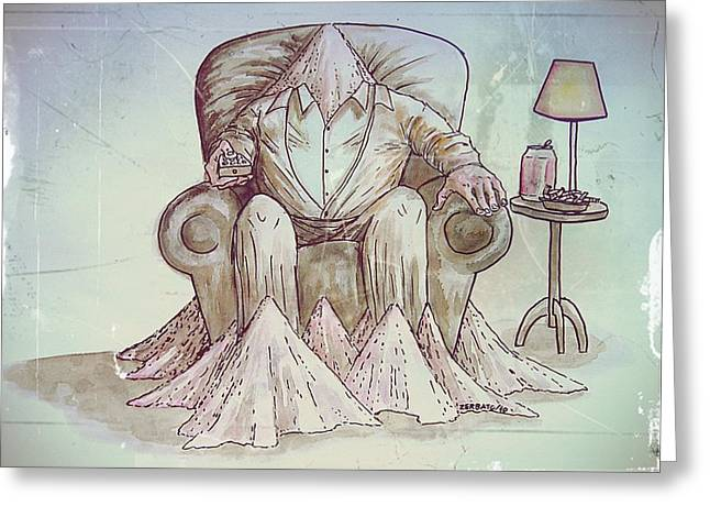 Best Sellers -  - Will Power Greeting Cards - Man Deteriorating Greeting Card by Paulo Zerbato
