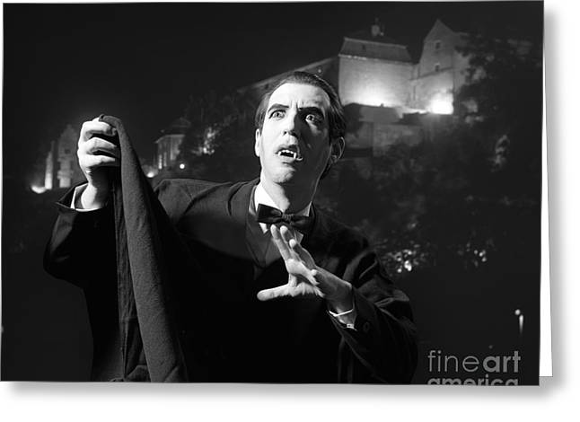 Man Dressed As A Vampire On Halloween Greeting Card by H. Armstrong Roberts/ClassicStock