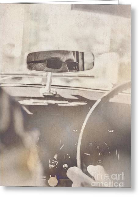 Man Driving Vintage Car Greeting Card by Jorgo Photography - Wall Art Gallery