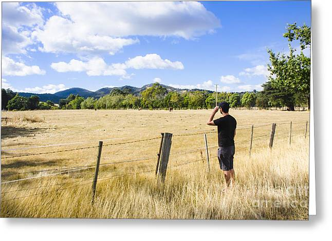Man Enjoying A Rural Farm Landscape In Hobart Greeting Card