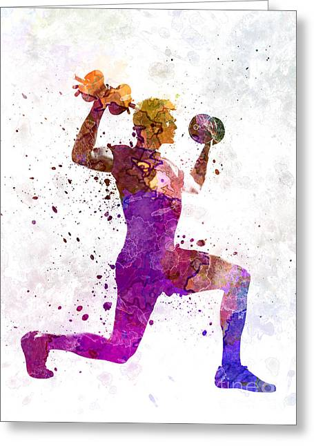 Man Exercising Weight Training Workout Fitness Greeting Card