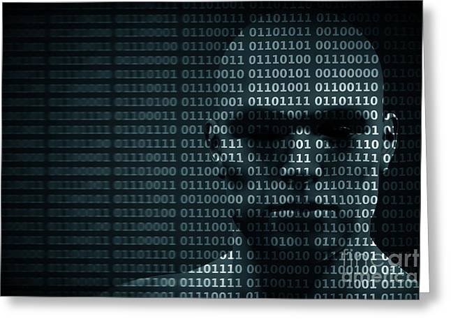 Man Face Blended With Binary Code Digits. Concept Of Hacker, Data Protection Etc. Greeting Card