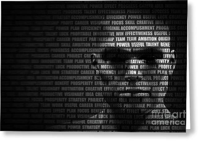 Man Face Blended With Flowing List Of Motivational Words Greeting Card by Michal Bednarek