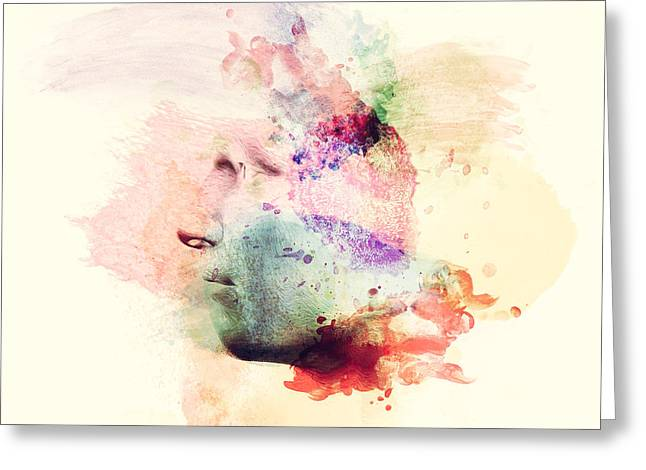 Man Face In Watercolor Painting. Concept Of Creative Thinking, Imagination, Emotions Greeting Card by Michal Bednarek