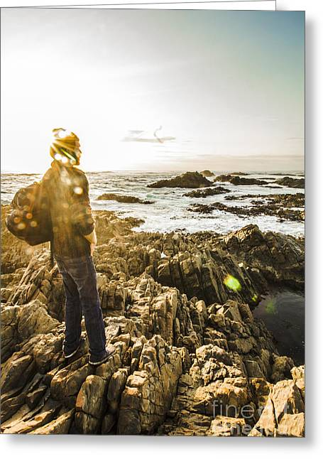 Man Finding Peace And Harmony Greeting Card