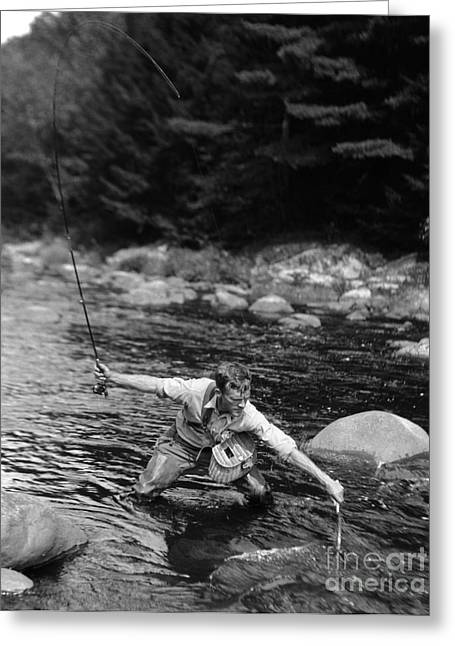 Man Fishing In Stream Greeting Card by H. Armstrong Roberts/ClassicStock