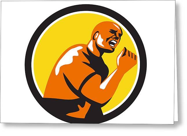 Man Fist Pump Low Angle Retro Greeting Card by Aloysius Patrimonio